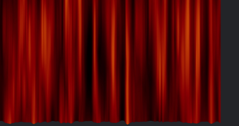 Digital animation of a white Einde Sign appearing as a red curtain opens to the side. | Shutterstock HD Video #1032651821