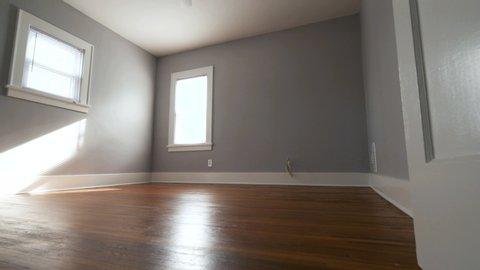 Empty Bedroom Door Opens Move Forward. view moves forward from a closed door that opens to reveal an empty bedroom through the doorway