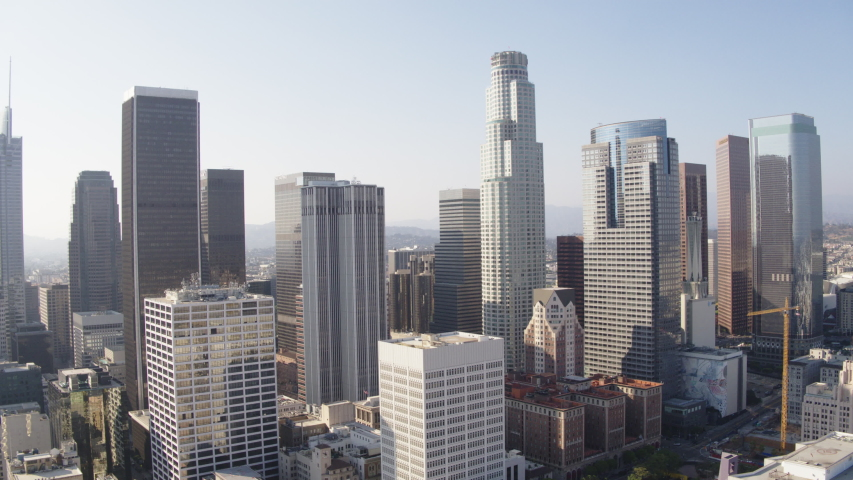 Downtown Los Angeles, Skyline View Financial District Aerial Shot with Inspire 2 Zenmuse X7 - Los Angeles, CA, ProRes 422HQ 30fps | Shutterstock HD Video #1032804491