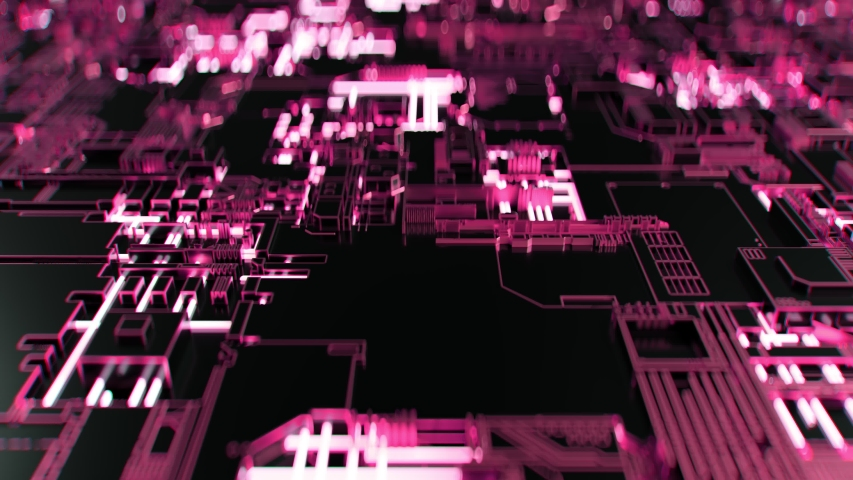 4K Abstract Futuristic Motherboard Circuit. Highly realistic CGI animation. | Shutterstock HD Video #1032963611
