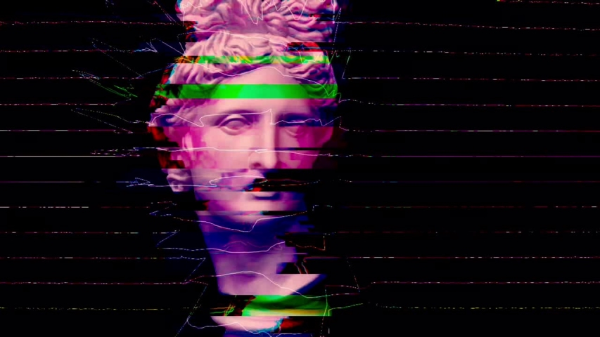 Apollo bust. Digital pixel noise glitch art effect. Retro futurism 80s 90s dynamic wave style. Video signal damage with tv noise and old screen interference. Retro wave, synth wave theme. | Shutterstock HD Video #1033051391