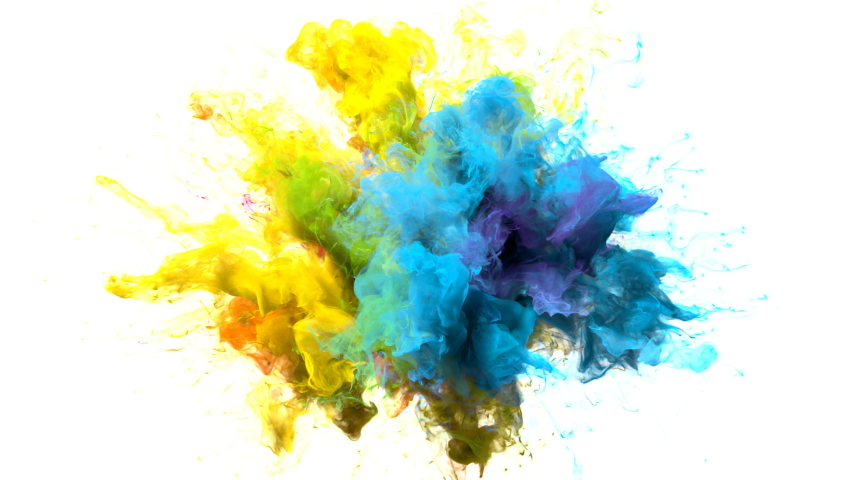 Color Burst iridescent multicolored colorful rainbow smoke powder explosion fluid ink particles slow motion alpha matte isolated on white | Shutterstock HD Video #1033137371