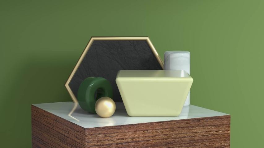 Green scene geometric object wood podium set 3d rendering motion abstarct   Shutterstock HD Video #1033252751