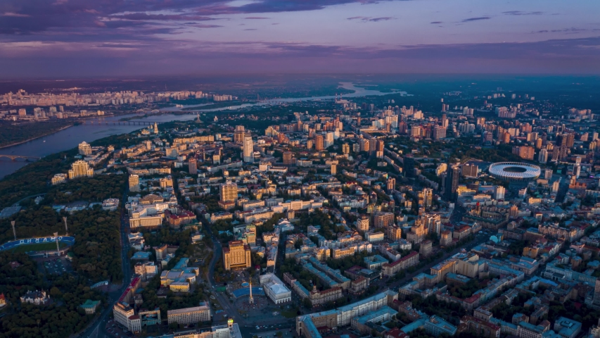 Kiev in the evening time lapse. View from above. Maidan Nezalezhnosti, historical center of Kyiv. Aerial footage 4k | Shutterstock HD Video #1033255271