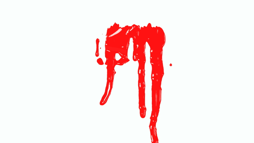 4K Blood dripping down on white background.Red paint dripping down  | Shutterstock HD Video #1033403411