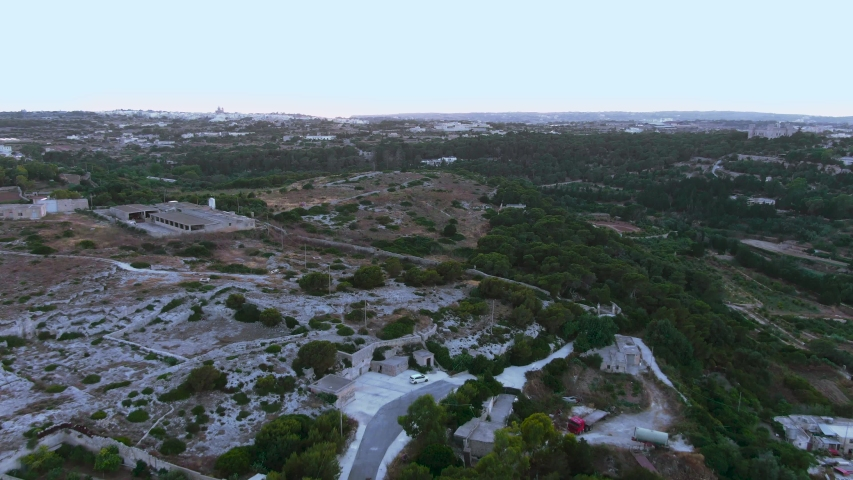 Aerial View Of The Buskette Gardens Fields Near The Verdala Palace,Siggiewi, Malta drone dolly in shot | Shutterstock HD Video #1033493861
