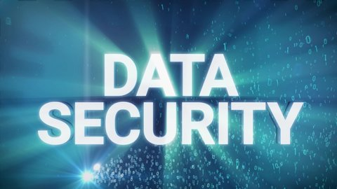 Seamless looping 3d animated digital maze with the word Data Security in 4K resolution