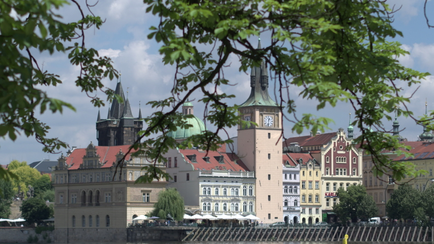 Ancient architecture of buildings near the Vltava river in Prague. | Shutterstock HD Video #1033563311