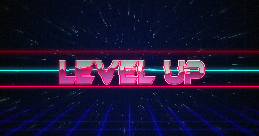 Animation of retro Level Up text glitching over blue and red lines against black background 4k | Shutterstock HD Video #1033574141