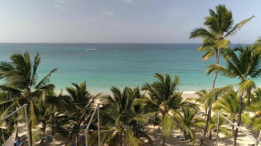 Flying Over Tropical Resort Beach, Aerial Drone Landscape Ocean Birds | Shutterstock HD Video #1033582751
