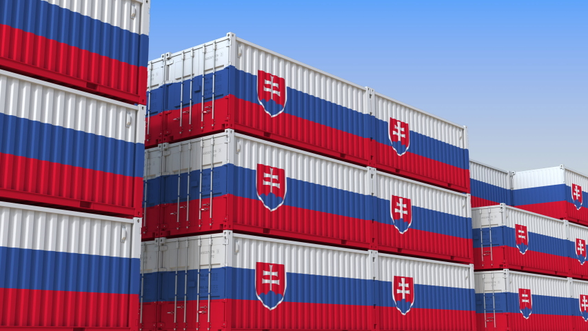 Container yard full of containers with flag of Slovakia. Slovak export or import related loopable 3D animation   Shutterstock HD Video #1033969001