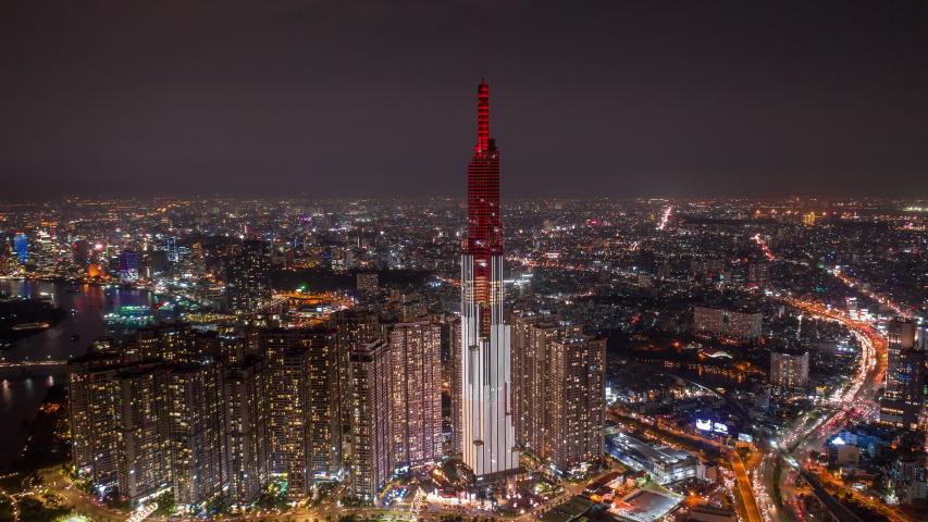 Ho Chi Minh City, Vietnam - November 6, 2018 : Aerial Hyperlapse of Landmark 81 and Ho Chi Minh City at night