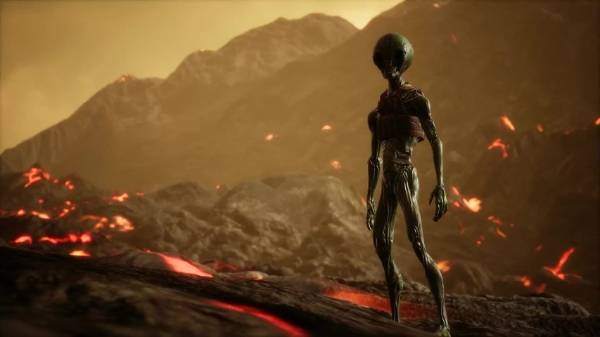 Alien alone  after battle for spaceships in strange planet MAKE YOUR CINEMATIC SCENE Please GO TO MY portfolio  and choose Sort By NEWEST , to show the sequence OF Cinematic scenes package Enjoy   Shutterstock HD Video #1034027231