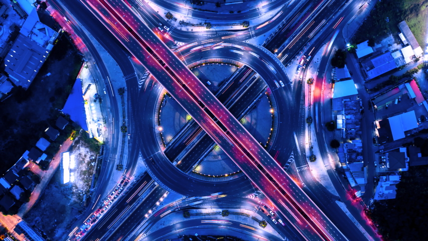 4K, Time lapse traffic at night in the circle and intersection  | Shutterstock HD Video #1034063381
