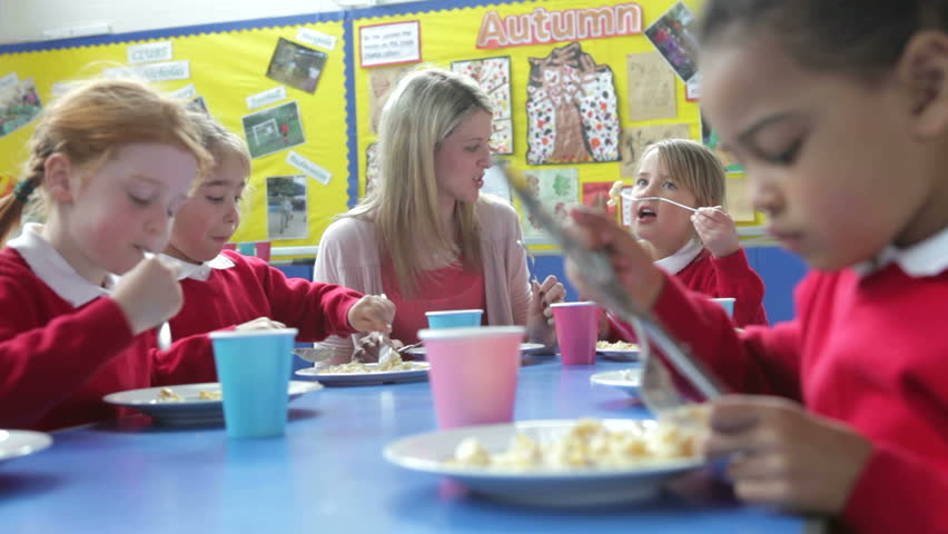 stock video of camera tracks across table as pupils 10341251 shutterstock preschool lunch p55 lunch