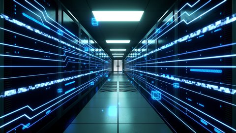 Digital information flows through network and data servers behind mesh panels in a server room of a data center or ISP. Forward Dolly Shot, 4K High Quality Animation