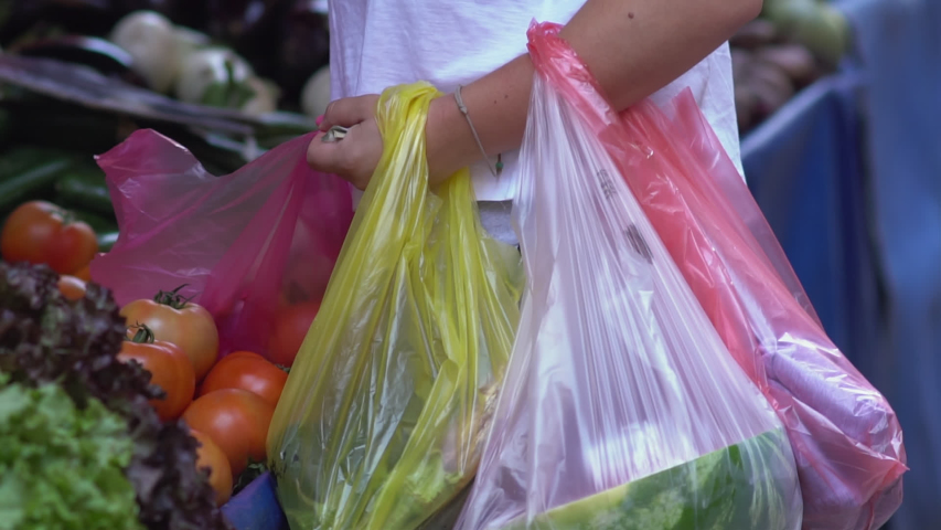 Female customer choosing tomatoes while carrying various plastic shopping bags filled with vegetables at a farmers street market. | Shutterstock HD Video #1034160941