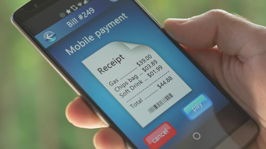 Paying a store receipe with a smartphone app. | Shutterstock HD Video #10344731