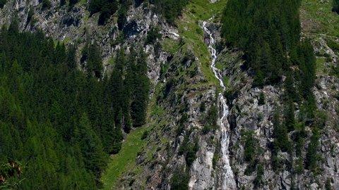 Waterfalls near lake of Anterselva. South Tyrol, Bolzano. Italy.