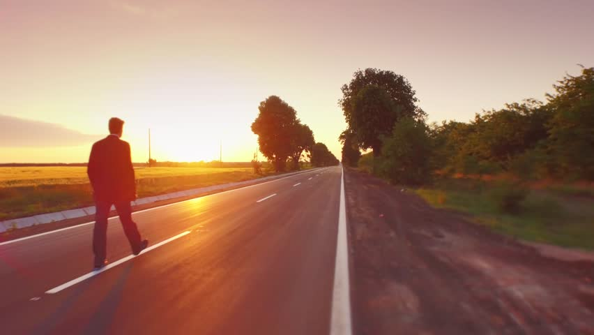 Way Road Asphalt Straight Business Sunset Success Man Businessman Street Work Sky Job Travel Career Future Nature Walk Path Outdoor Sunrise  Aerial Uhd 4K | Shutterstock HD Video #10344809