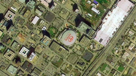 Houston Texas USA: Earth Zoom from Toyota Center