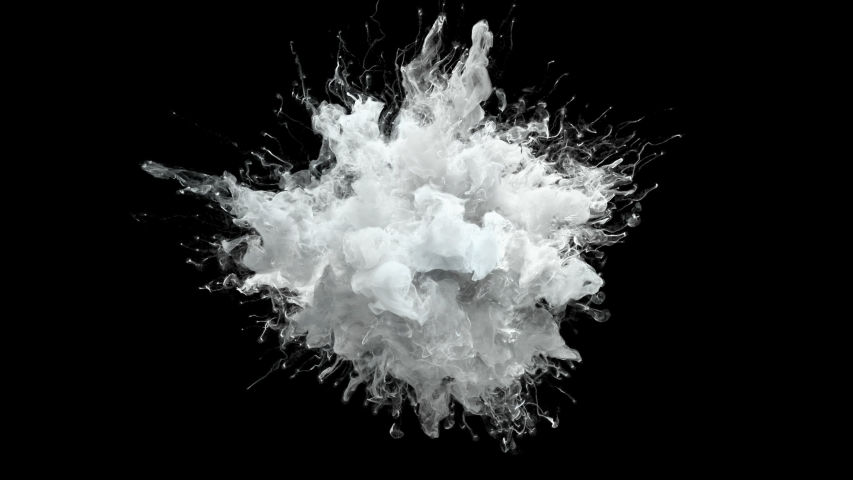 Color Burst - white smoke powder explosion fluid ink paint particles slow motion alpha matte isolated on black