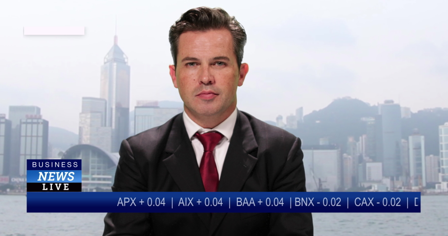 MS Male anchor reporting live from Hong Kong, China with stock market update   Shutterstock HD Video #1034745581