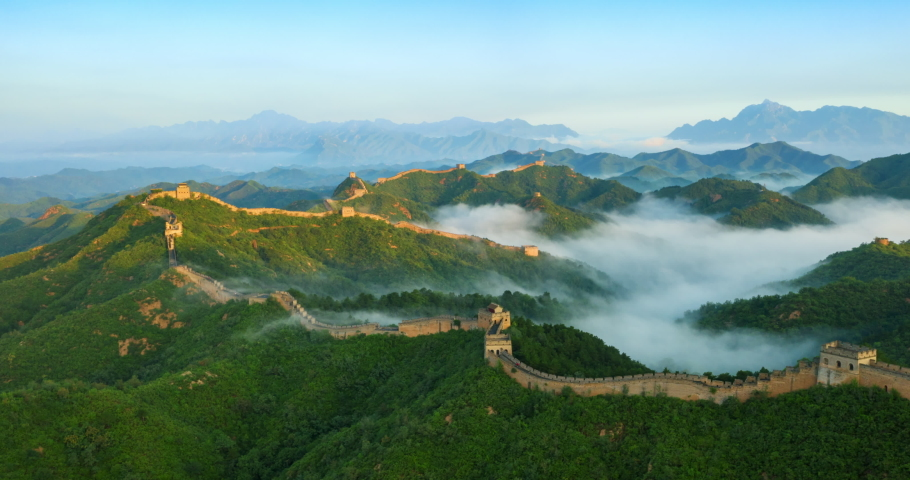 Flying over China great wall in the morning | Shutterstock HD Video #1034751041