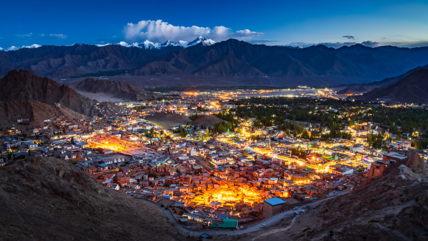 4K Day to night Time lapse of Leh city (aerial view), Ladakh, India | Shutterstock HD Video #1034779781