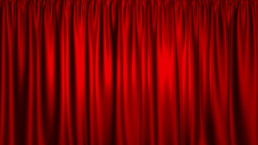 Vertically opening curtain, with alpha mask. High detailed cloth. A beautiful stage curtain for a theater or opera stage. Layout for your project design | Shutterstock HD Video #1034807081