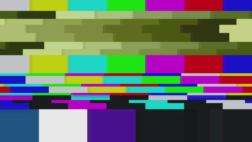 Color Bars data glitches. A looped set of color bars experiencing technical difficulties, being distorted with data glitches, dropped pixels, signal interference and other digital anomalies. | Shutterstock HD Video #1034828711