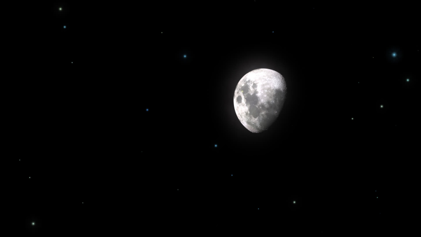 Hazy Moon Phase in Starry Night Concept-V2 seen from space with realistic and natural moon and star effect animation. | Shutterstock HD Video #1034896211