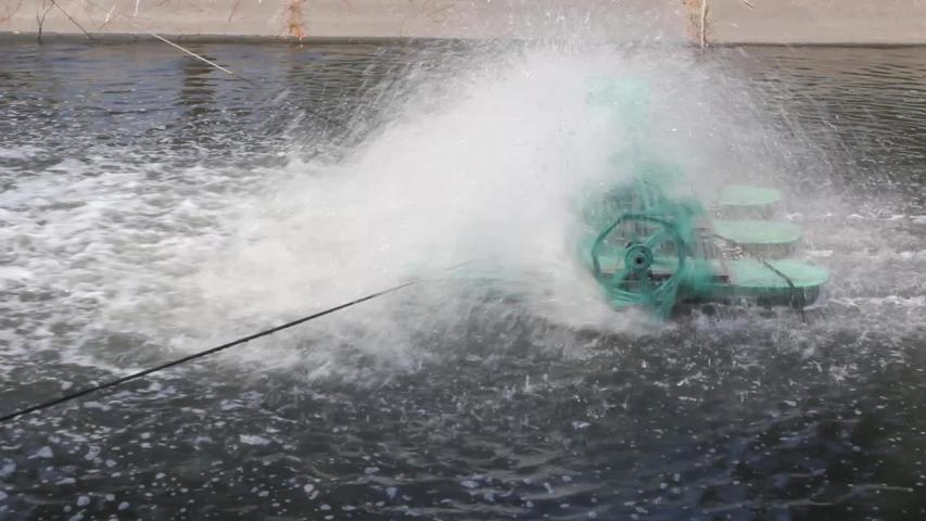 Electric turbine for increase oxygen in waste water | Shutterstock HD Video #1034915771