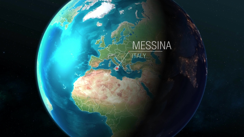 Italy - Messina - Zooming from space to earth  | Shutterstock HD Video #1034952761