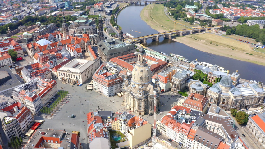 Aerial view on the main city square with famous church of Our Lady  in Dresden city, Germany. | Shutterstock HD Video #1034962361