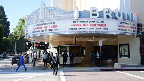 Los angeles, ca: august 9, 2019: the bruin theater in the westwood village  area of los angeles  the bruin theater is owned by regency theatres