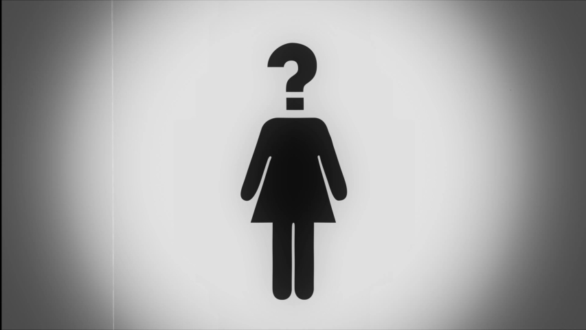 Black icon of a woman with quickly changing various symbols instead of her head with blinking old fashion retro cinema effect in seamless loop | Shutterstock HD Video #1035031421