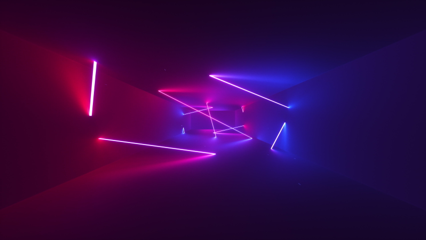 Abstract seamless looped animation of neon, glowing tubes, lasers and lines, glitching and flashing while moving forward within a dark tunnel with fog and particles. #1035100751