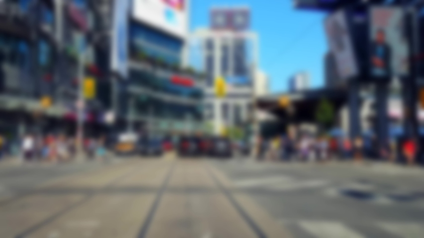Pedestrians Crossing Downtown City Street With Blur Effect.  People Walking Across Urban Road Intersection. | Shutterstock HD Video #1035181751