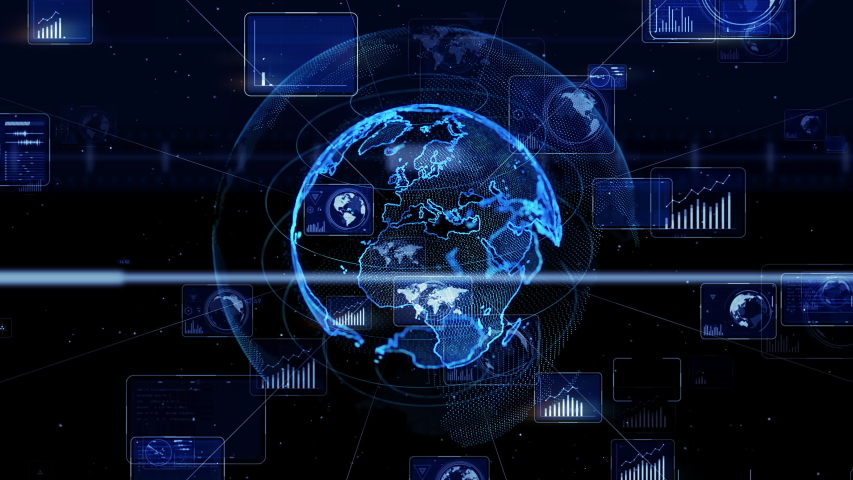 Global communication network concept. Worldwide business. GUI (Graphical User Interface). AI Artificial intelligence). | Shutterstock HD Video #1035186851