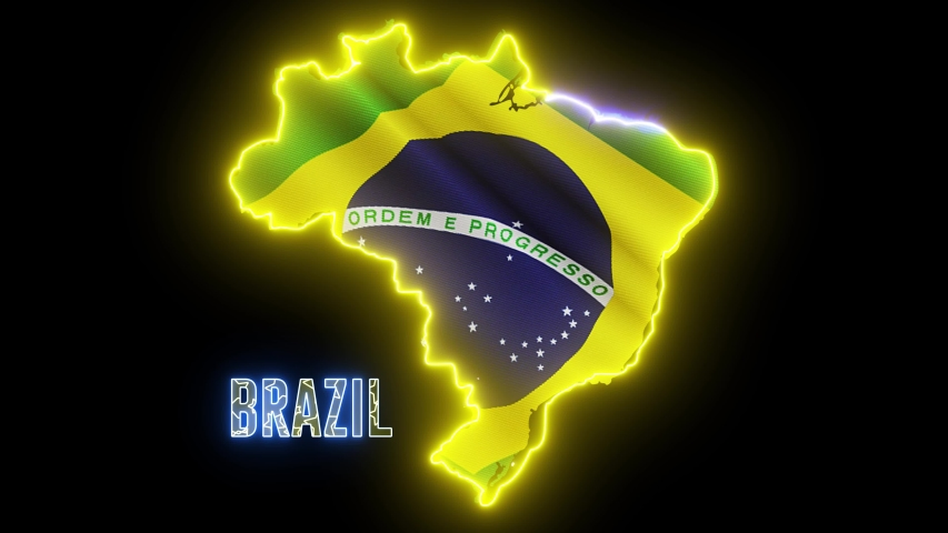 Abstract creative neon lights map of BRAZIL. Brazilian geography outline with shiny led light. | Shutterstock HD Video #1035298901