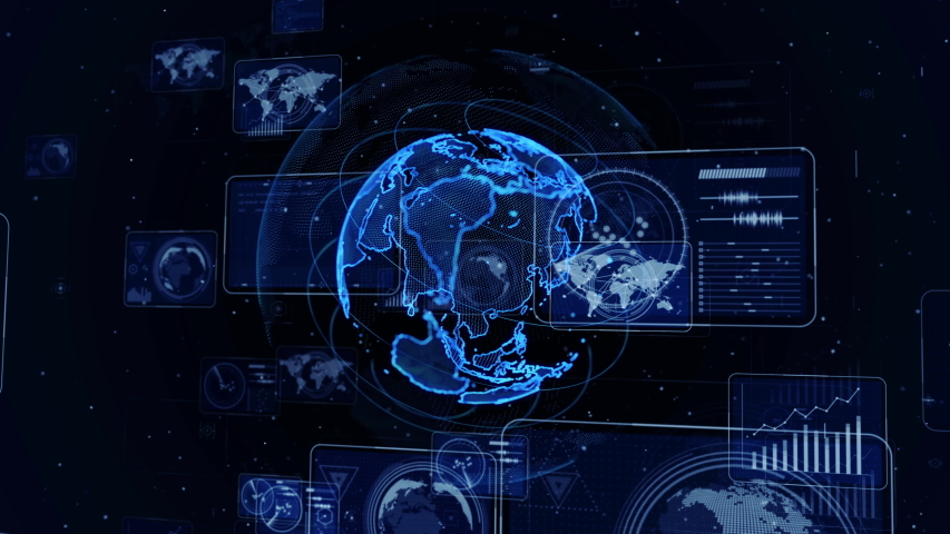 Global communication network concept. Worldwide business. GUI (Graphical User Interface). AI Artificial intelligence). | Shutterstock HD Video #1035491291