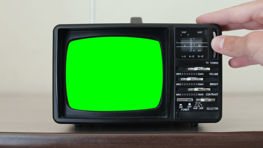Retro Television with Green Screen, Switching Channels | Shutterstock HD Video #1035498701