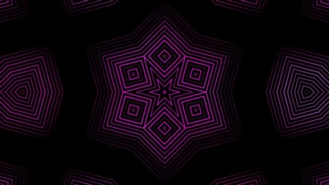 Abstract animation of sequence multicolored graphics ornaments patterns rotating on black background. Animation. Hypnotic kaleidoscope with abstract multicolored neon graphics.