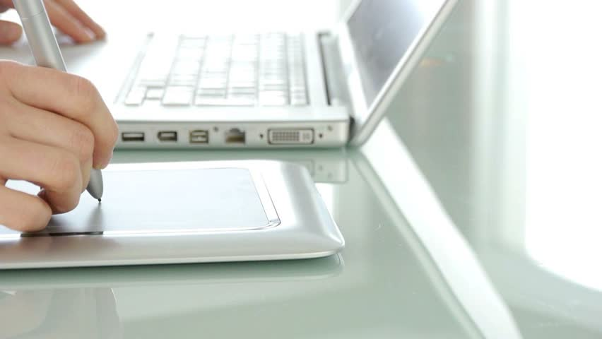 Closeup on hand using graphic tablet | Shutterstock HD Video #1035685