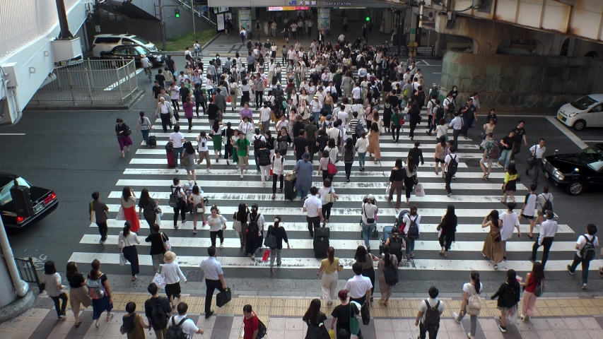 UMEDA, OSAKA, JAPAN - CIRCA JULY 2019 : Aerial view of zebra crossing near Osaka train station. Crowd of people at the street. Shot in busy rush hour. #1035705161