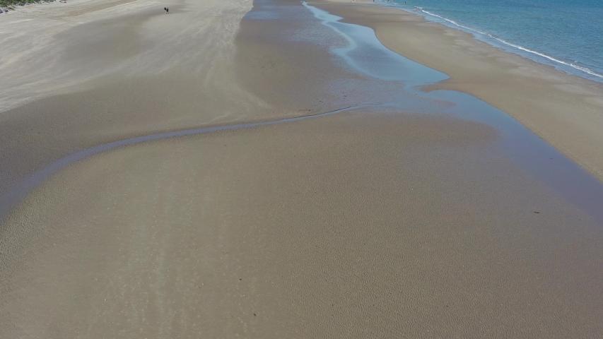 Portmarnock sandybeach aerial drone view, Dublin county, Ireland | Shutterstock HD Video #1035711131