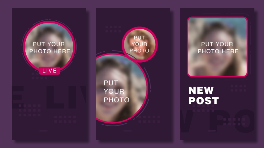 Pack of templates for social media stories. Promo layout for your blog for facebook, instagram stories. Animation for new post, Live translation and promo. 4K. USA 2018