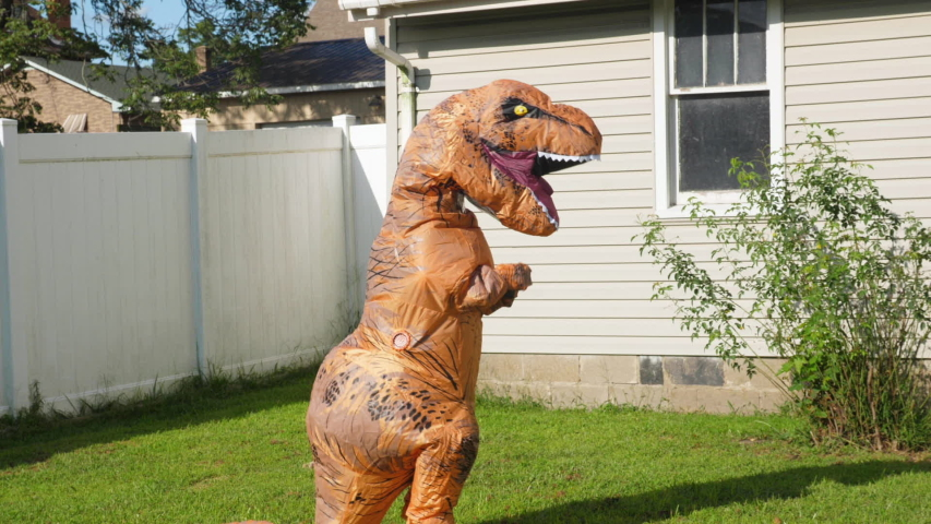 A man dressed in a funny blow-up dinosaur costume dances.   | Shutterstock HD Video #1035778421