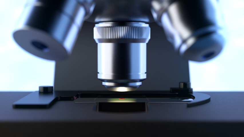 Close-up shot of automated scientific laboratory microscope examining a drop of blood on a prepared sample slide. Seamless loopable animation can be used in education, science or medicine industry | Shutterstock HD Video #1035835151
